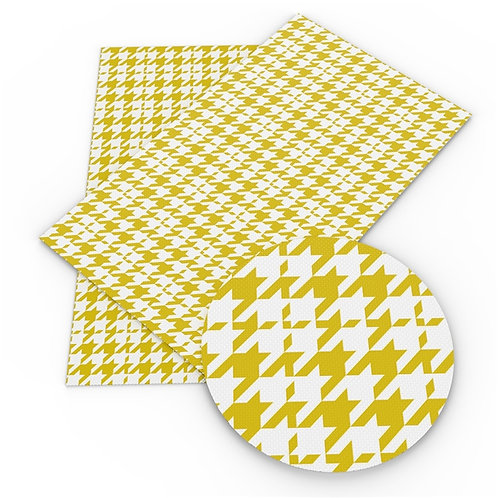 Yellow Houndstooth Printed Embroidery Vinyl