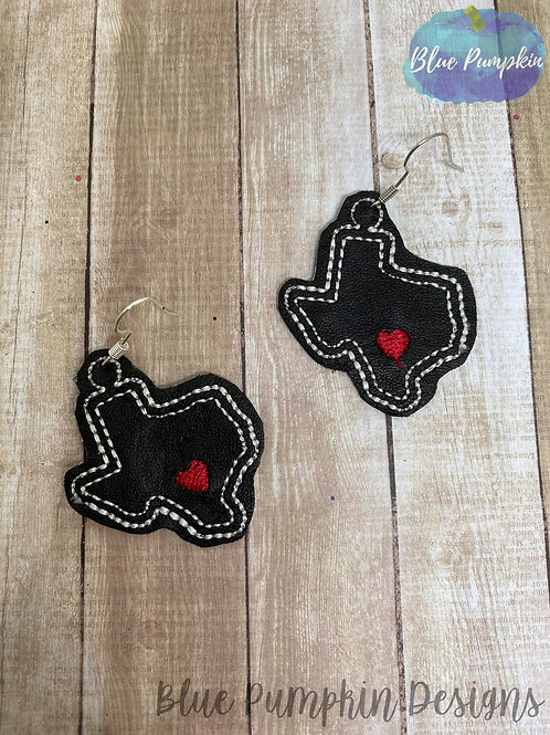 Texas with Heart Earrings