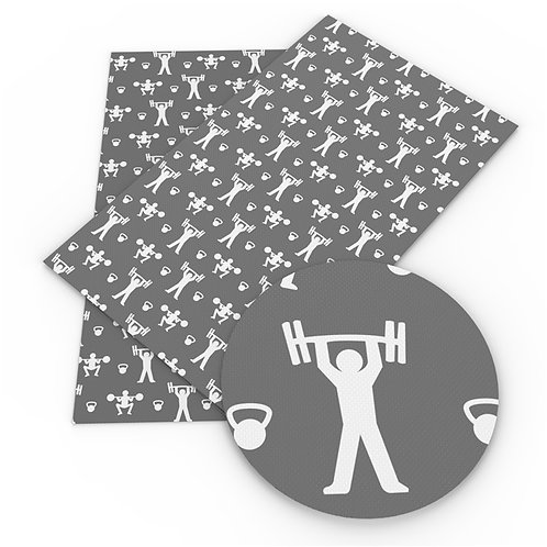 Weight Lifting Printed Embroidery Vinyl