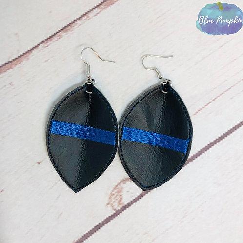 Blue Line Oval Earrings
