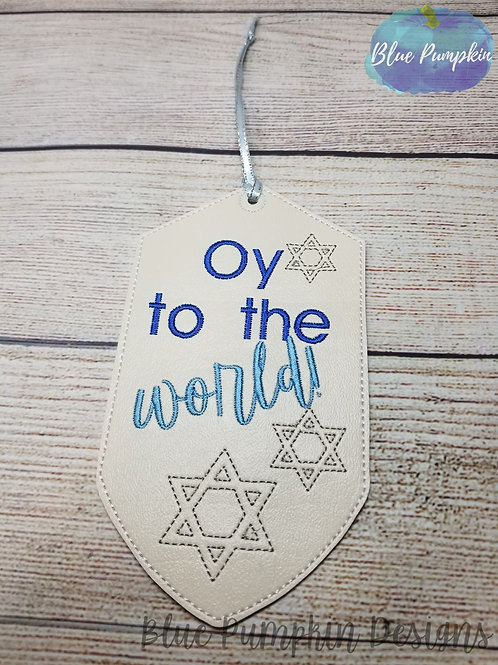 Oy to the World Wine Bottle Tag Design