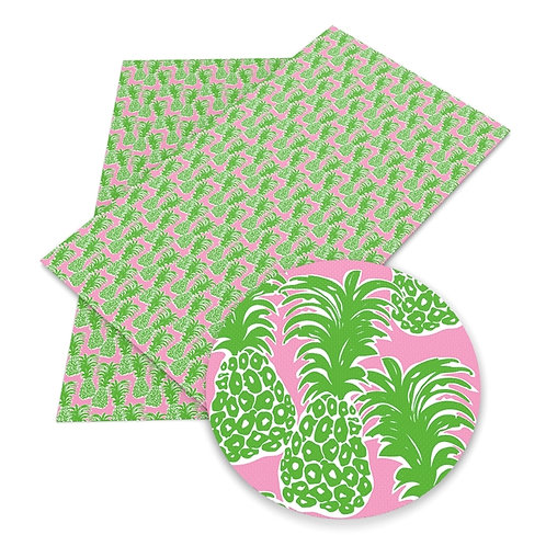 Pink Green Pineapple Embroidery Vinyl