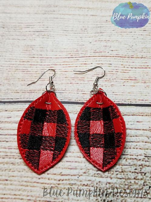Buffalo Plaid Pinch Oval Earrings