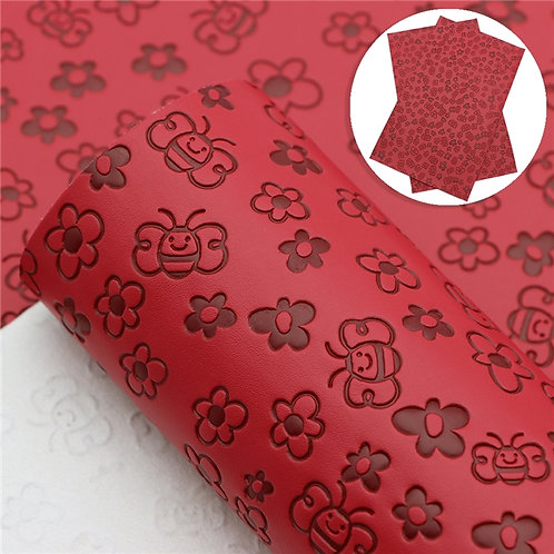 Red with bee embossed Embroidery Vinyl