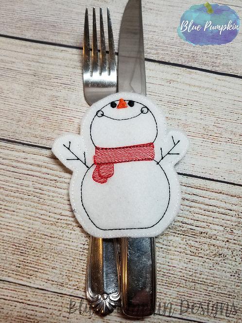 Snowman Silverware Holder