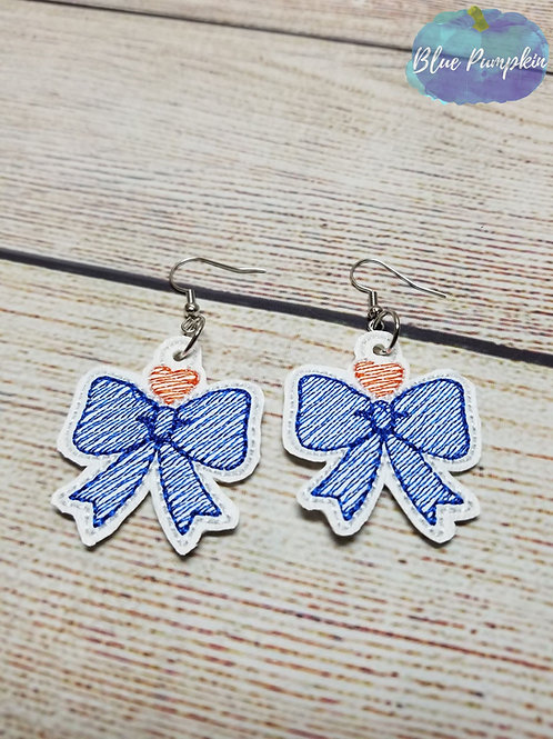 Bow with Heart Earrings