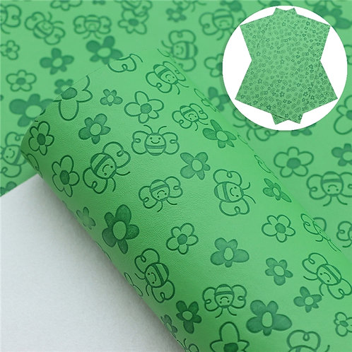 Green with bee embossed Embroidery Vinyl