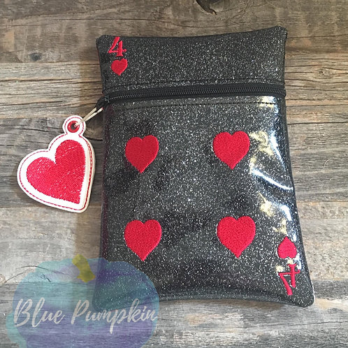4 of Heart Playing Card ITH Zipper Bag Design