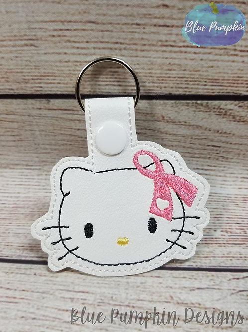 Kitty Awareness Ribbon  Key Fob