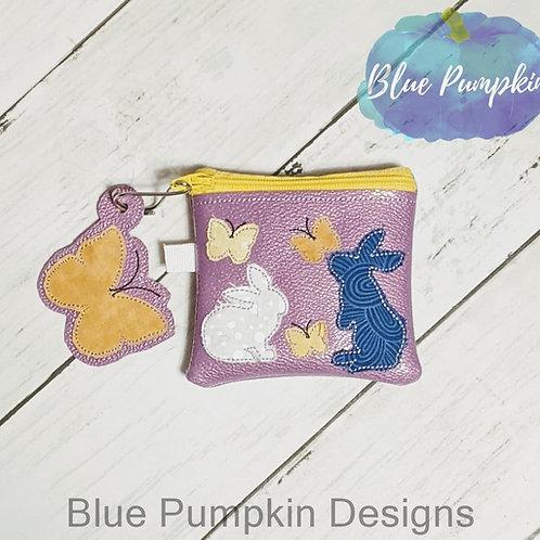 3 Sizes Shabby Bunny w Butterflies Zipper Bag Design