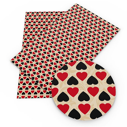 Red and Black Hearts Printed Embroidery Vinyl
