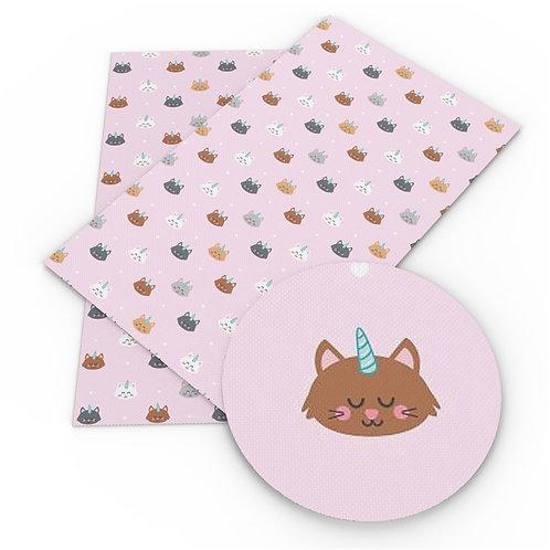 Pink Cat-a-corns Embroidery Vinyl