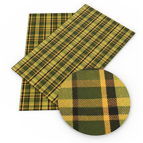 Yellow Green Black Plaid Embroidery Vinyl