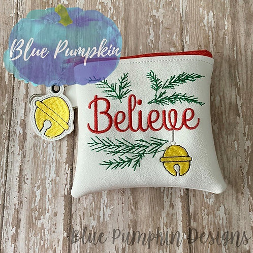 TWO SIZES 4x4 5x5 Believe ITH Bag Design