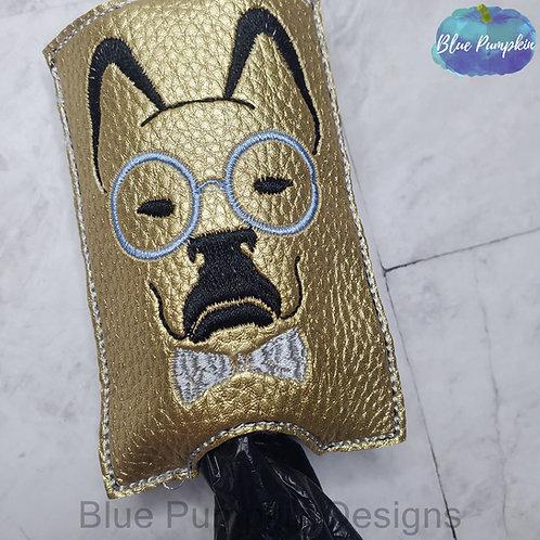 Dog w Glasses and Bowtie Bottom Dispenser Poop Bag Holder