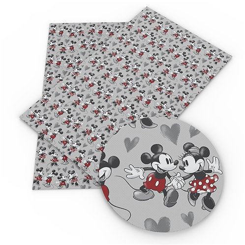 Black Gray Red with Happy Mouse Couple Embroidery Vinyl