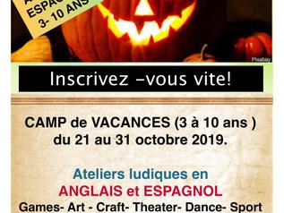 Camp de vacances HALLOWEEN du 21 au 31 octobre 2019 en anglais et espagnol