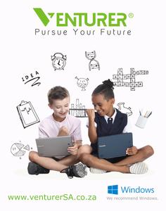 Two boys holding Venturer 2-in-1 laptops
