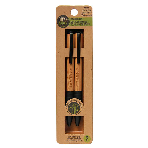 pack of 2 ball pen with black clip and black rubbergrip made from bamboo