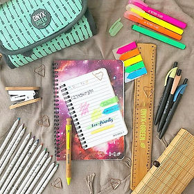 Bamboo made rule pen stapler spiral notebook made from sugarcane gel highligter pens arrow strips