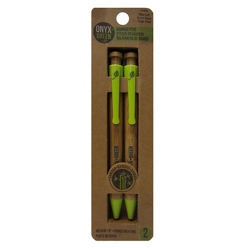 pack of 2 retractable ball pen with green clip made from bamboo