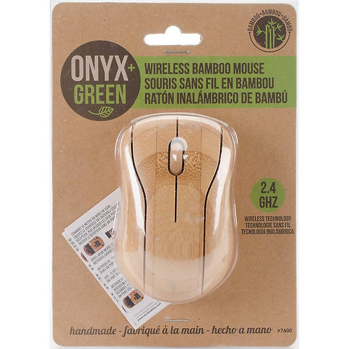 Onyx & Green Wireless Bamboo Mouse