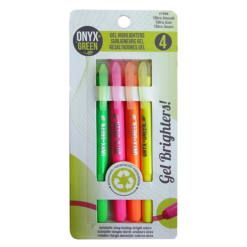 Pack of 4 gel highlighter pens made from recycled plastic green pink orange yellow