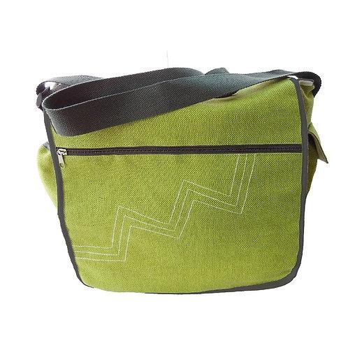 Green Ramie & Jute Messenger Bag