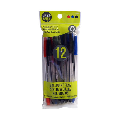 Onyx & Green Recycled Plastic Ball Pens