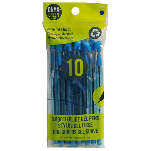 pack of 10 blue gel pens made from recycled plastic clear