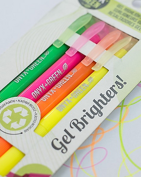 Bright neon gel made highlighter pens made from recyled plastic.