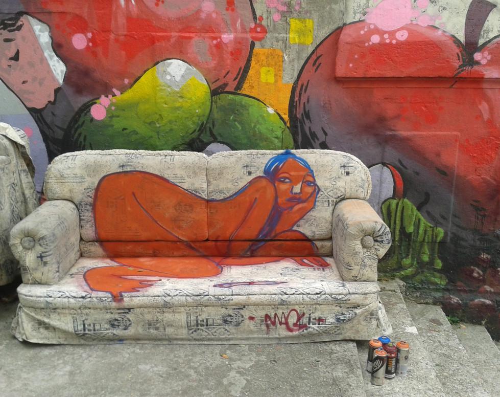 Mag Magrela  2016 spraypaint on sofa