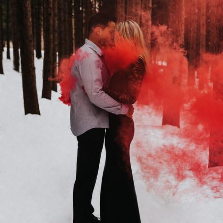 Unique snow engagement photos