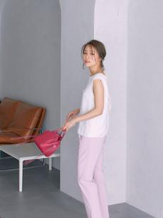 サイドパール付きパンツ ピンク