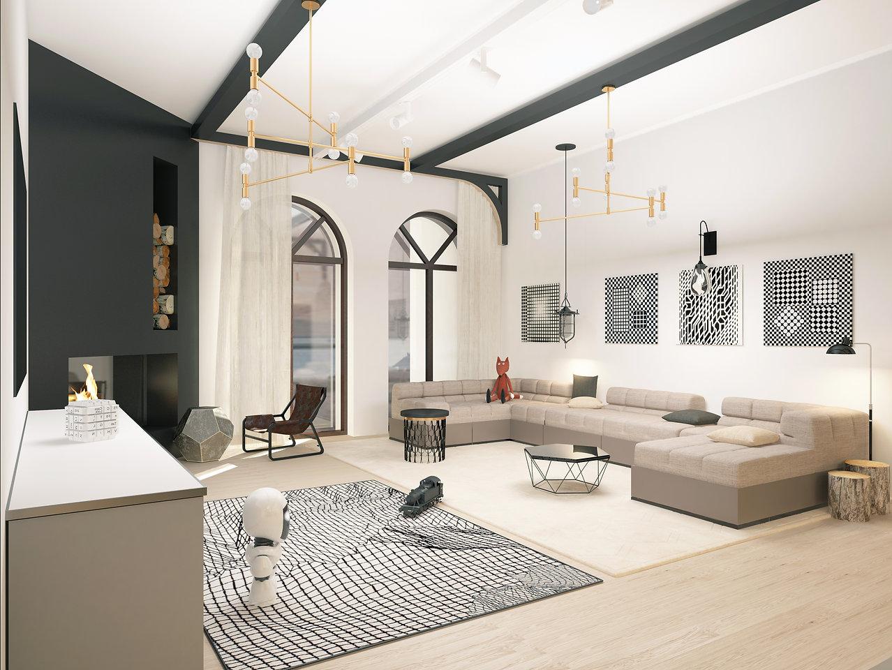 современный дизайн интерьера дома в Одессе в стиле minimal art