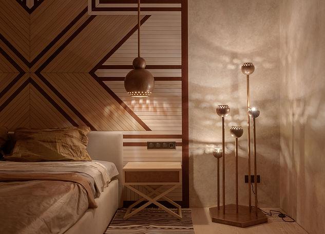 Дизайн предметный светильники из меди Маки. В колеккции торшер и 2 вида подвесных светильников от FOREST DESIGN. Ручная работа студии дизайна.