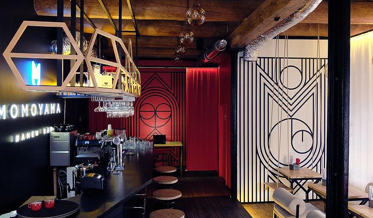 Дизайн интерьера ресторана в Одессе Ramen bar Momoyama by Forest Design