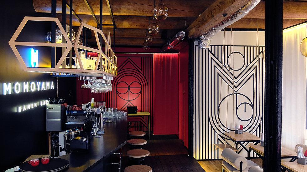 Дизайн интерьера и брендинг MOMOYAMA Ramen bar start-up от Forest Design