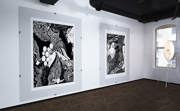 graphic drawings in the interior