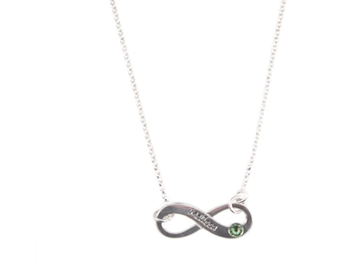 ac4eb855f Show you infinite love with this infinity necklace. Engraved with your  choice of name/word. Add a Swarovski Crystal birthstone for a stunning gift.