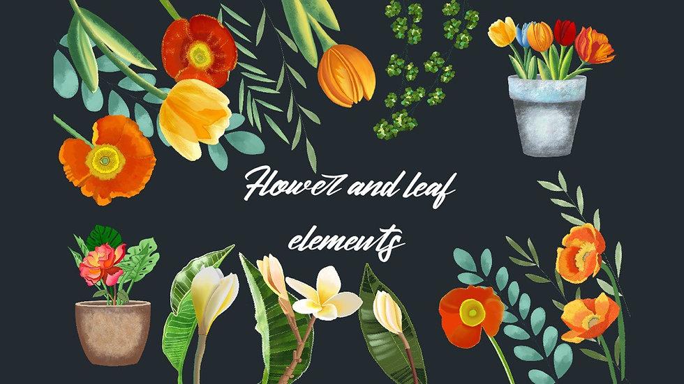 Bright spring flower graphic set