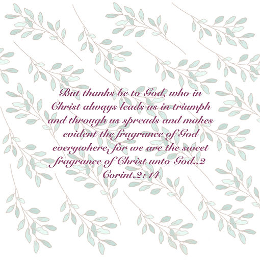 Bible script banner with  2 Corinthians 2:14 written in it with leaf design in background