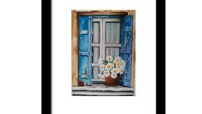 Pretty vintage window paintings commission