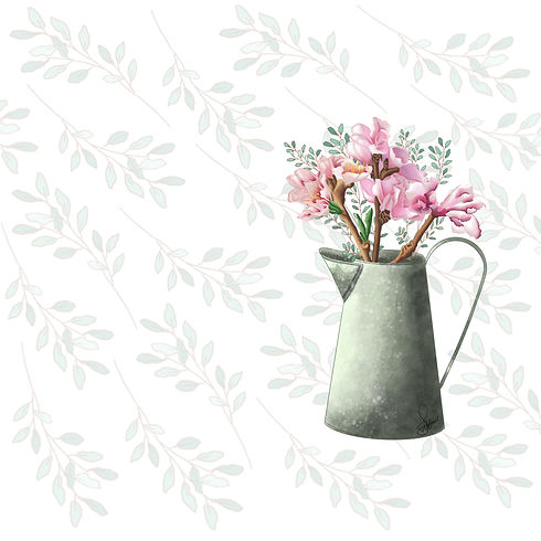 a sweet fragrance banner with a flower pot and leaf design