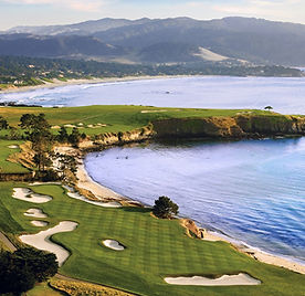 Drone view of Pebble Beach golf course.