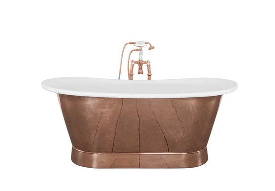 Bodenham Copper Bath with White Enamel Painted Interior | Hurlingham