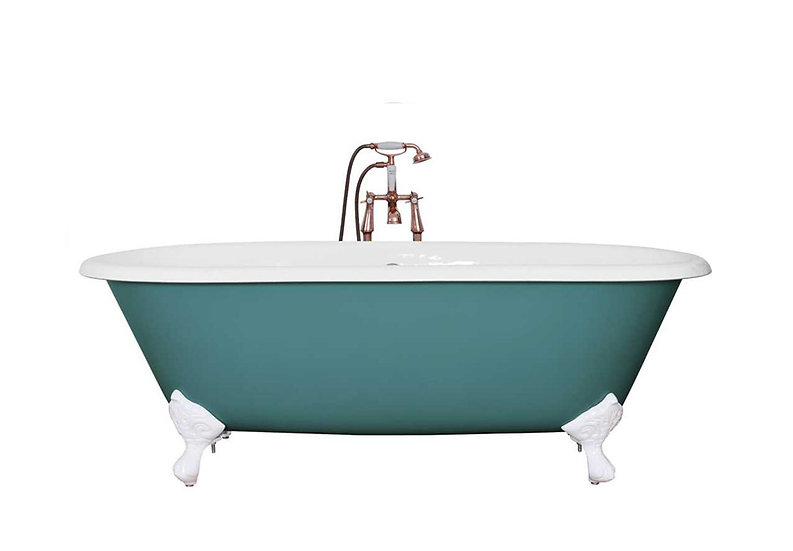 Jig Bisley Double Ended Roll Top Cast Iron Bath in Farrow and Ball Vardo