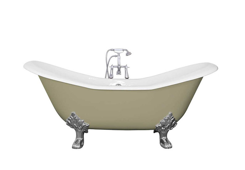 Jig Banburgh Large Roll Top Cast Iron Bath Painted in Farrow and Ball Green