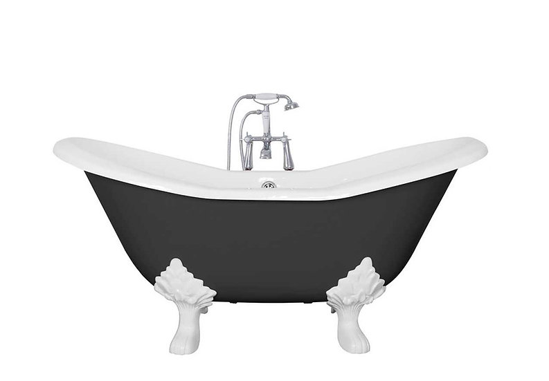 Jig Small Banburgh Cast Iron Roll Top Bath painted in Farrow and Ball Pitch Black