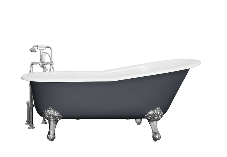 Jig Beaulieu Roll Top Slipper Cast Iron Bath painted in Farrow and Ball Stiffkey Blue